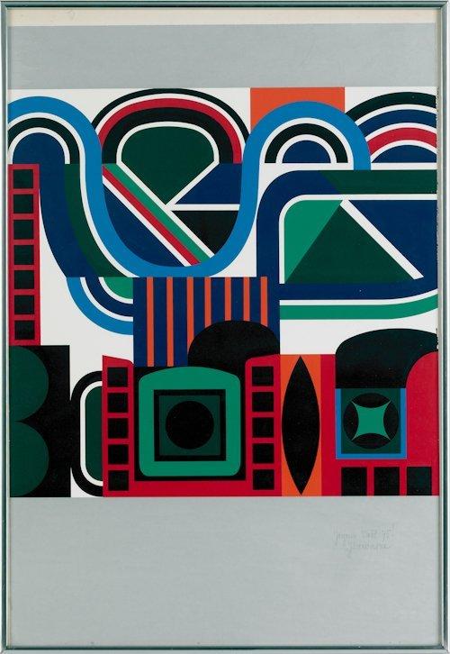 495: Jean Dewasne (French, 1921-1999), acrylic on pa