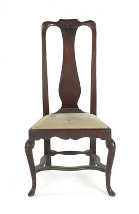 New England Queen Anne Walnut Side Chair, Ca. 17