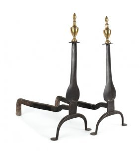 Pair Of Pennsylvania Wrought Iron And Brass Knif