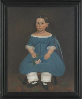 American, 19th C., Oil On Canvas Portrait Of A L