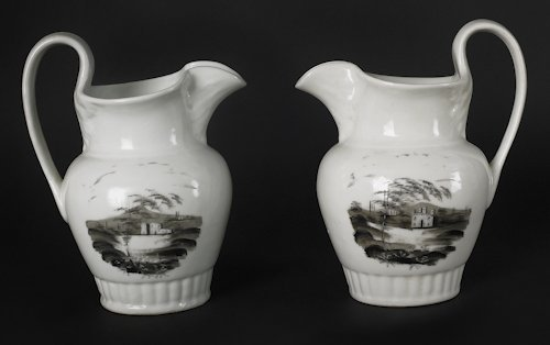 639: Two Tucker porcelain pitchers, ca. 1825, with d