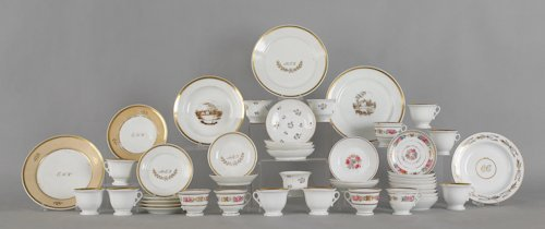 640: Collection of Tucker porcelain teawares, ca. 182