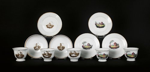 641: Group of Tucker porcelain teawares, ca. 1825, d