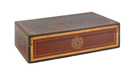 648: New England painted basswood lock box, ca. 1825