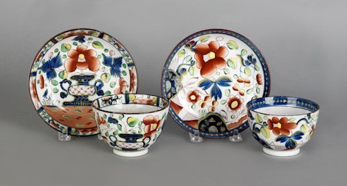 649: Two Gaudy Dutch cups and saucers, 19th c., in t