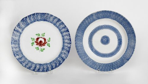 651: Two blue spatter plates with Adams Rose and bull