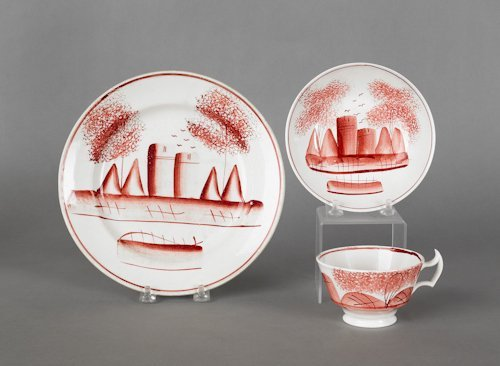 654: Red spatter teepee plate and cup and saucer, 19t