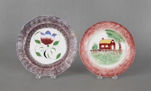655: Red spatter plate with schoolhouse, 19th c., 8