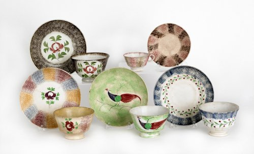 656: Collection of spatter cups and saucers, 19th c.