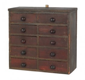 New England Painted Hanging Apothecary Chest, La