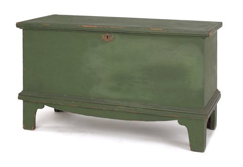 4: New England painted pine blanket chest, ca. 1800