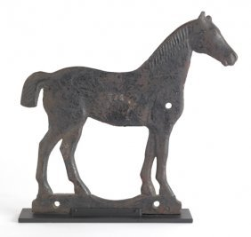 5: Cast iron horse form windmill weight, early 20th