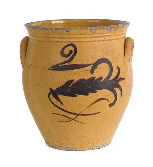 6: Pennsylvania earthenware two-gallon crock, 19th