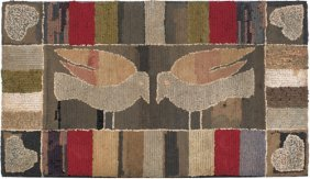 American Hooked Rug, Late 19th/early 20th C., T