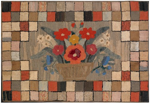 10: Large American hooked rug, 19th c., with a bask