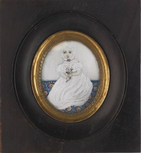 Miniature Watercolor Oval Portrait, 19th C., Of
