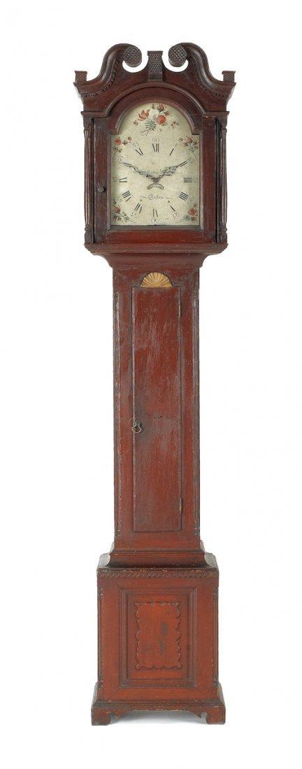 13: Pennsylvania painted pine tall case clock, ca. 1