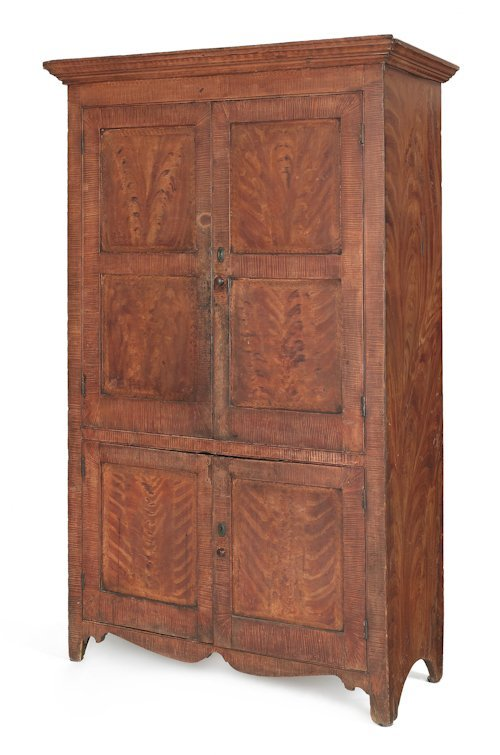 17: New Jersey painted pine wall cupboard, ca. 1820