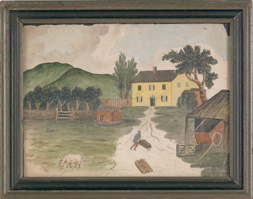 19: New Jersey watercolor on paper farm scene, early