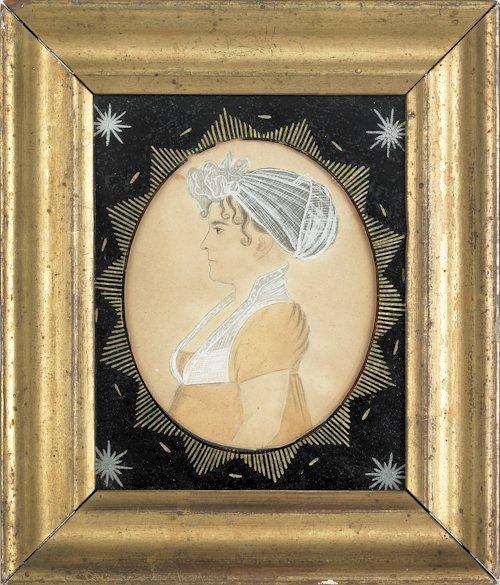 24: American miniature watercolor on paper profile p