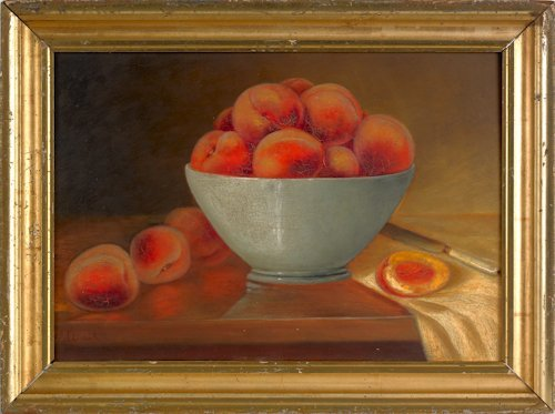25: Oil on board still life of peaches, late 19th c.