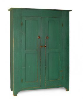 New Jersey Painted Pine Wall Cupboard, Ca. 1830