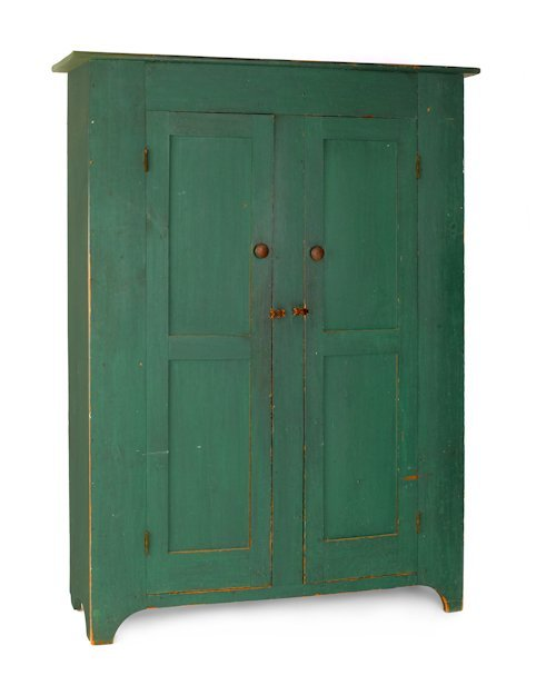 27: New Jersey painted pine wall cupboard, ca. 1830