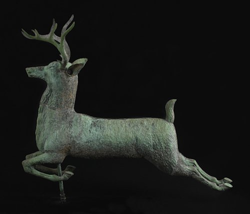 33: American molded copper ten-point leaping stag we