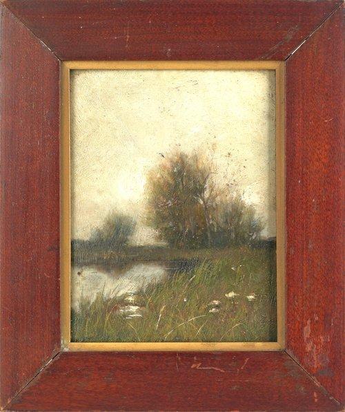35: Small oil on board moonlit landscape, 19th c.,