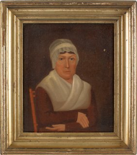 Philadelphia Oil On Board Portrait Of A Woman, 1