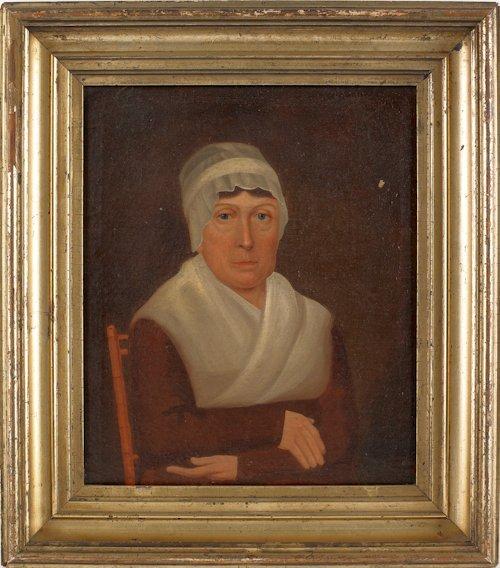 36: Philadelphia oil on board portrait of a woman, 1