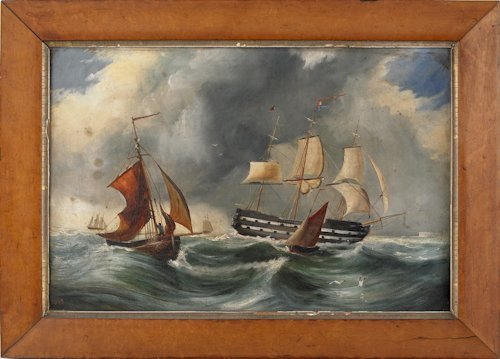 37: Oil on canvas ship painting, 19th c., depicting