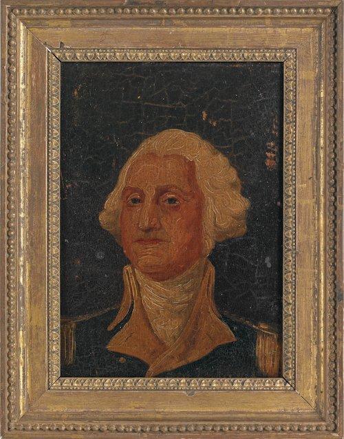 38: American oil on board bust length portrait of Ge
