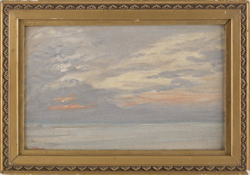 39: Oil on board painting of a sunset, early 20th c.