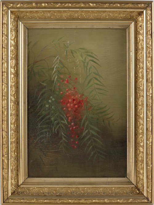 40: Oil on canvas still life, 19th c., depicting a