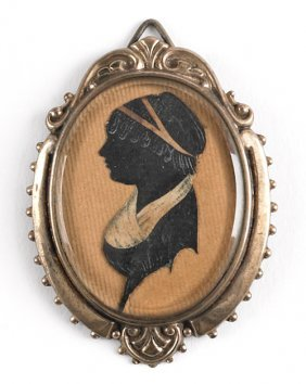 Miniature Silhouette Profile Of A Woman, 19th C.