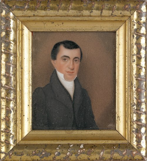 44: Miniature watercolor on ivory portrait of a gent