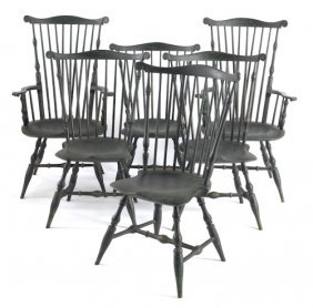 Set Of Six Contemporary Painted Windsor Chairs