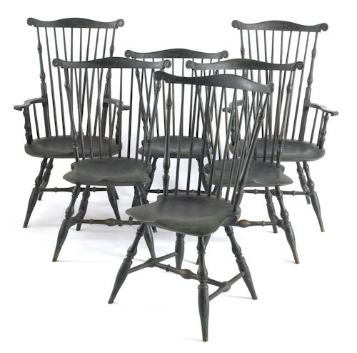 45: Set of six contemporary painted Windsor chairs