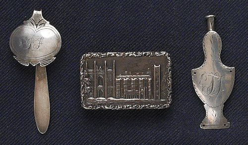 48: An American silver needle case, together with a