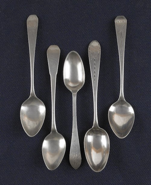 50: Group of silver, to include two teaspoons, mark