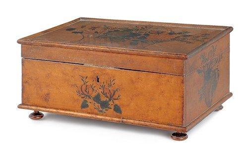 57: American birds-eye maple sewing box, early 19th