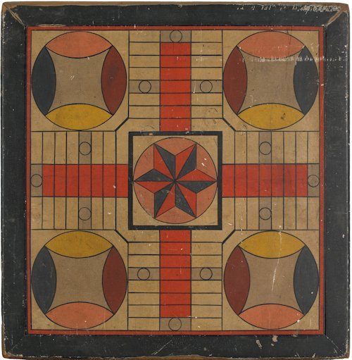 59: New England painted pine Parcheesi game board, l