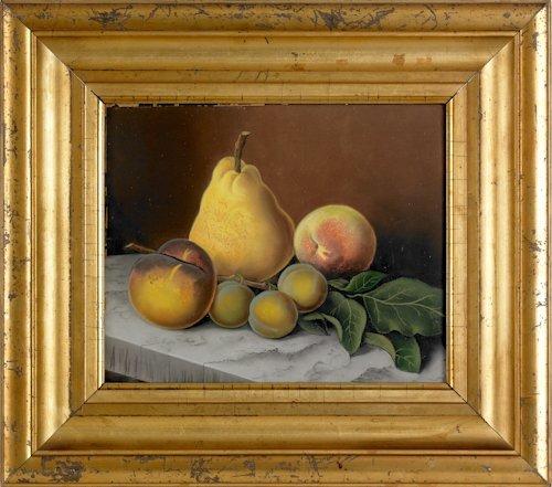 60: Luminous pastel on paper still life of fruit on