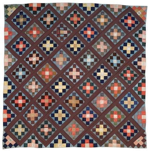 66: Bucks County, Pennsylvania silk pieced quilt, ca