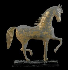Copper Prancing Horse Weathervane, Ca. 1880, By