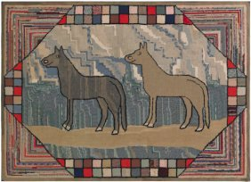 Large American Hooked Rug, Early 20th C., Depic