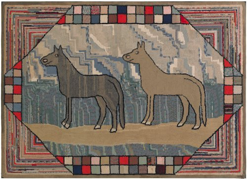105: Large American hooked rug, early 20th c., depic