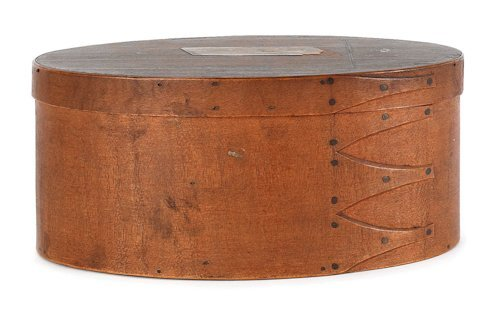 113: Oval Shaker bentwood box, with an old label Ro