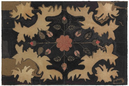 121: American hooked rug, ca. 1840, with a leaf and